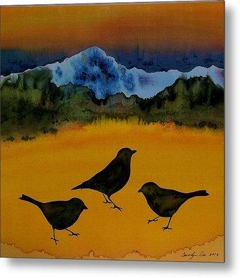 3 Blackbirds Metal Print by Carolyn Doe