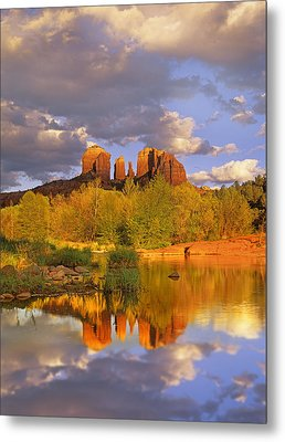 Cathedral Rock Reflected In Oak Creek Metal Print by Tim Fitzharris