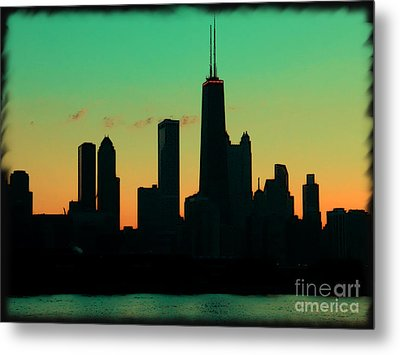 Chicago Skyline Cartoon Metal Print by Sophie Vigneault