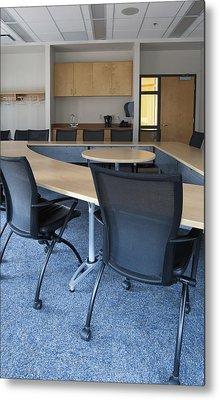 Empty Boardroom Or Meeting Room In An Metal Print by Marlene Ford