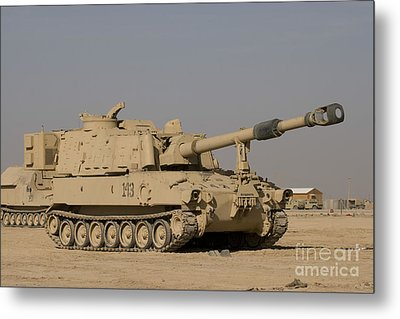 M109 Paladin, A Self-propelled 155mm Metal Print by Terry Moore