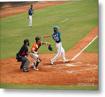 Professional Baseball Game In Taiwan Metal Print by Yali Shi