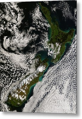 Satellite View Of New Zealand Metal Print by Stocktrek Images