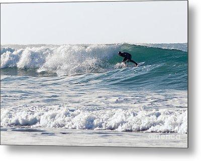 Surfers At Porthtowan Cornwall Metal Print by Brian Roscorla