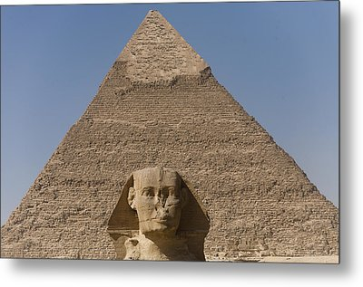 The Sphinx Stands In Front Of The Great Metal Print by Taylor S. Kennedy
