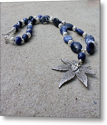 3593 Sodalite And Silver Necklace With Japanese Maple Leaf Pendant  Metal Print by Teresa Mucha