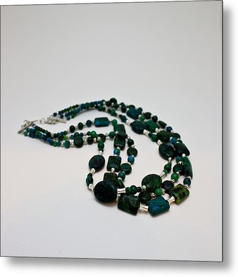 3609 Australian Jasper Triple Strand Necklace Metal Print by Teresa Mucha