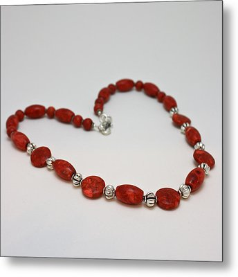 3612 Red Coral Necklace Metal Print by Teresa Mucha