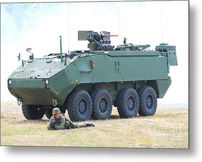 A Belgian Army Piranha IIic With The Fn Metal Print by Luc De Jaeger