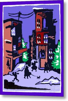 Christmas Street Scene Metal Print by Elinor Mavor