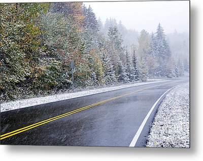 Fall Color And Snow Along The Highland Scenic Highway Metal Print by Thomas R Fletcher