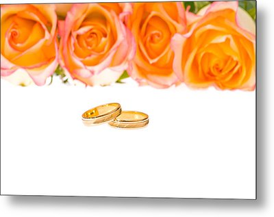 4 Red Yellow Roses And Wedding Rings Over White Metal Print by Ulrich Schade