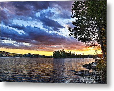 Dramatic Sunset At Lake Metal Print by Elena Elisseeva
