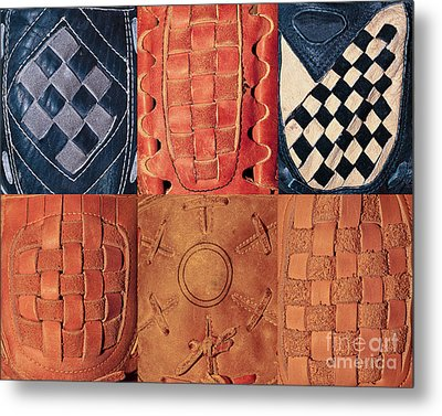 6 Baseball Gloves Metal Print by Ben Haslam