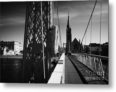 Pedestrian Suspension Footbridge The Greig Street Bridge Over The River Ness Inverness Highland Scot Metal Print by Joe Fox