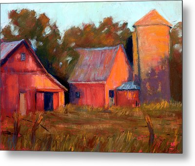 A Barn At Sunset Metal Print by Cheryl Whitehall