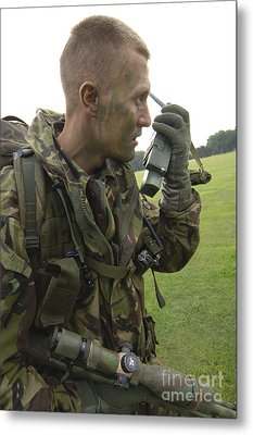 A British Army Soldier Radios Metal Print by Andrew Chittock