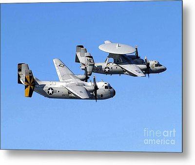 A C-2a Greyhound And A E-2c Hawkeye Metal Print by Stocktrek Images