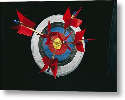 A Close View Of Arrows Stuck In A Bulls Metal Print by Richard Nowitz