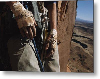 A Close View Of Rock Climber Becky Metal Print by Bill Hatcher