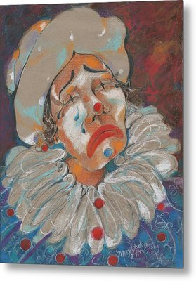 A Clown Face Metal Print by Mary Armstrong