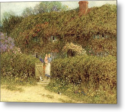 A Cottage At Freshwater Isle Of Wight Metal Print by Helen Allingham