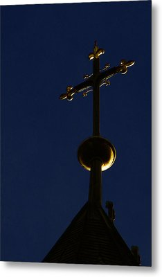 A Cross On St Vitus Cathedral Prague Metal Print by Christine Till