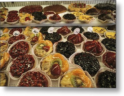 A Display Case Full Of Fruit Pastries Metal Print by Gordon Wiltsie