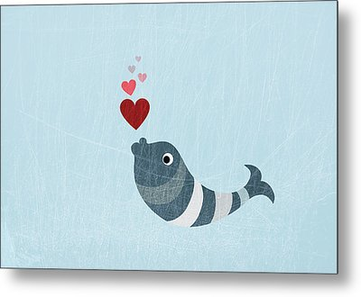A Fish Blowing Love Heart Bubbles Metal Print by Jutta Kuss