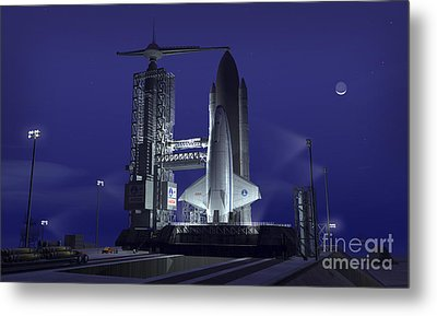 A Futuristic Space Shuttle Awaits Metal Print by Walter Myers