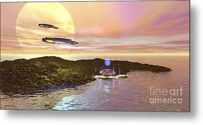 A Futuristic World On Another Planet Metal Print by Corey Ford