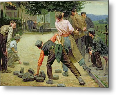 A Game Of Bourles In Flanders Metal Print by Remy Cogghe