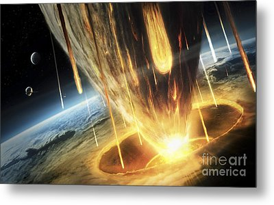 A Giant Asteroid Collides Metal Print by Tobias Roetsch