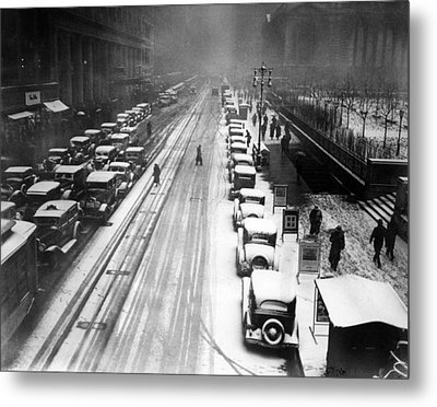 A Heavy Snowfall, 42nd Street, Looking Metal Print by Everett
