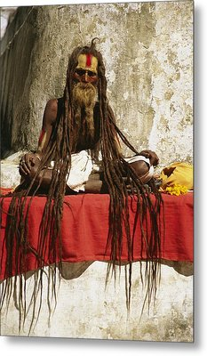 A Hindu Holy Man With Streaming Metal Print by Michael Melford