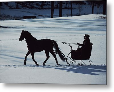 A Horse-drawn Sleigh Ride At Twilight Metal Print by Ira Block