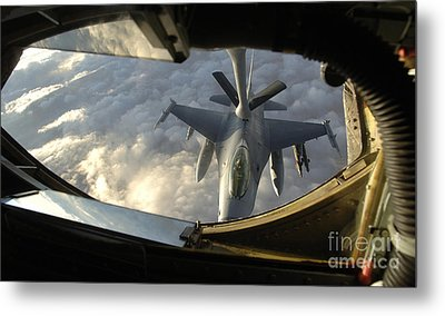 A Kc-135 Stratotanker Connects With An Metal Print by Stocktrek Images