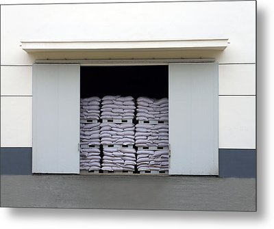 A Large Warehouse Entrance. Blocked Metal Print by Guang Ho Zhu