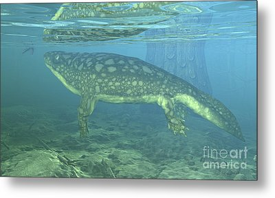 A Late Devonian Period Ichthyostega Metal Print by Walter Myers
