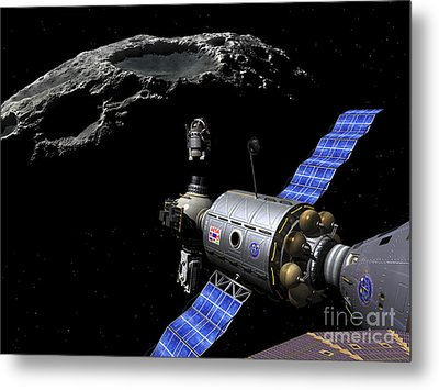 A Manned Maneuvering Vehicle Undocks Metal Print by Walter Myers