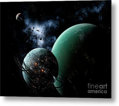 A Massive Space Station Orbits A Large Metal Print by Brian Christensen