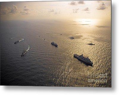A Multi-national Naval Force Navigates Metal Print by Stocktrek Images