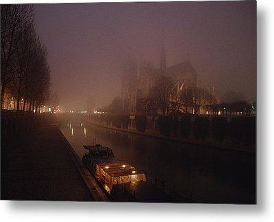 A Night View Across The Seine Towards Metal Print by James L. Stanfield
