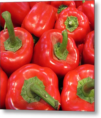 A Peck Of Red Peppers Metal Print by Kathy Clark