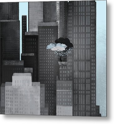 A Person On A Skyscraper Under A Storm Cloud Getting Rained On Metal Print by Jutta Kuss
