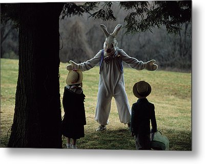 A Rabbit Meets Two Children During An Metal Print by Joel Sartore
