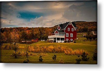 A Red Farmhouse In A Fallscape Metal Print by Chantal PhotoPix