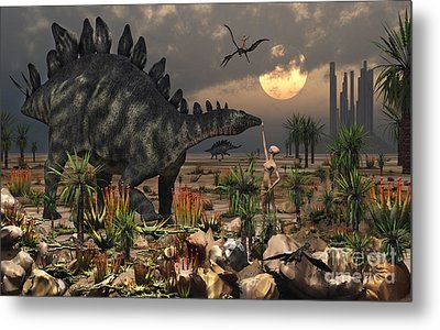 A Reptoid Being And A Stegosaurus Metal Print by Mark Stevenson