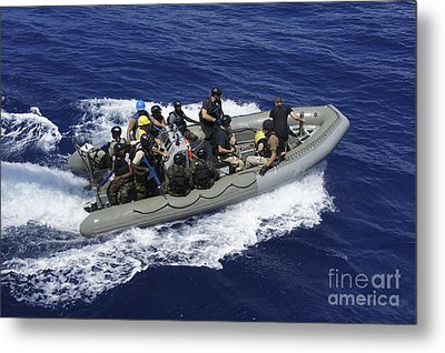 A Rigid-hull Inflatable Boat Carrying Metal Print by Stocktrek Images