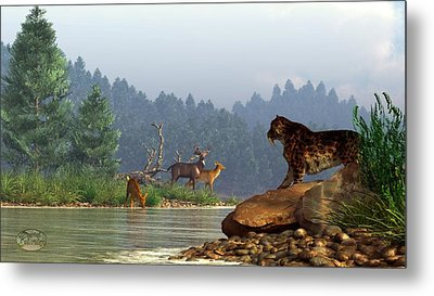A Saber-tooth Hunting Deer Metal Print by Daniel Eskridge
